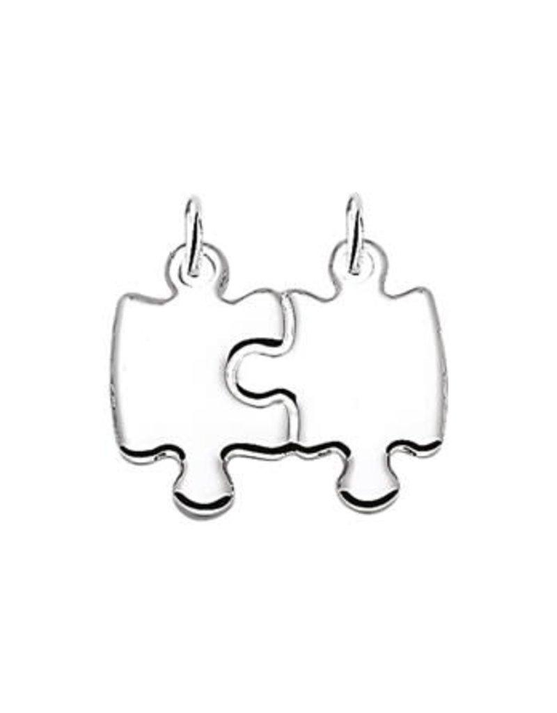 Blinckers Jewelry Huiscollectie BJ 1008926 Bedel zillver dubbel puzzelstuk (breek bedel) 19,5 mm breed en 15.5 mm hoog