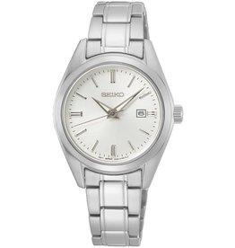 Seiko Seiko SUR633P1 horloge dames staal met stalen band en zilveren wijzerplaat