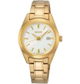 Seiko Seiko SUR632P1 horloge staal double met idem wband en witte wijzerplaat met gouden accenten