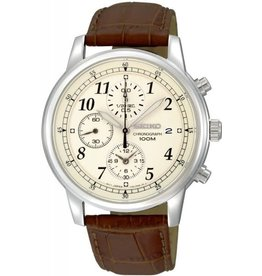 Seiko Seiko SNDC31P1 horloge heren staal chrono creme wijzerplaat met bruine band