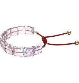 Swarovski Swarovski 5615001 Armband dames Swarovski kristallen met hart in roze met rode draad en gouden bollen