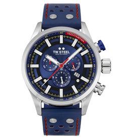 TW Steel TW Steel SVS 206 horloge heren staal 48 mm blauwe wijzerplaat blauw leren band met rode stiksels