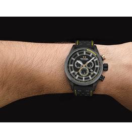 TW Steel TW Steel SVS207 heren horloge staal 48 mm zwart plated en gouden accenten in combinatie met leren band