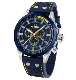 TW Steel TW Steel SVS208 horloge heren staal 48 mm chronograaf met blauwe bezel en leren band met geel stiksels