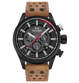 TW Steel TW Steel SVS 209 horloge heren stalen 48 mm kast met zwarte plating en bruin lederen band