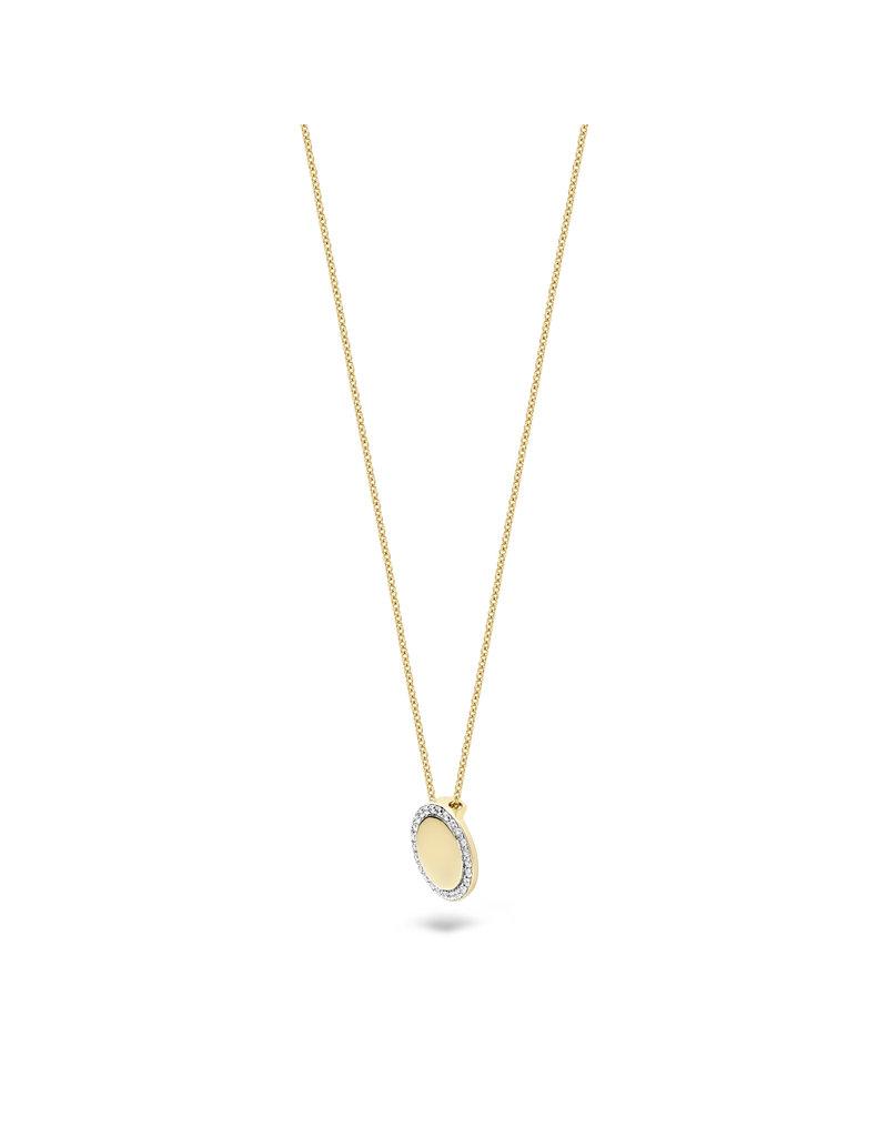 Blush Blush 3124YZI collier dames 14 k goud geel met ronde hanger glad bezet met zirkonia rondom
