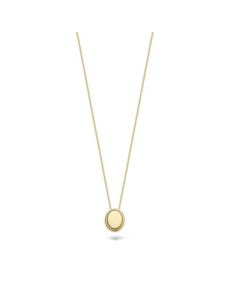 Blush Blush 3123YGO collier dames 14 k goud geel met ovale gladde hanger