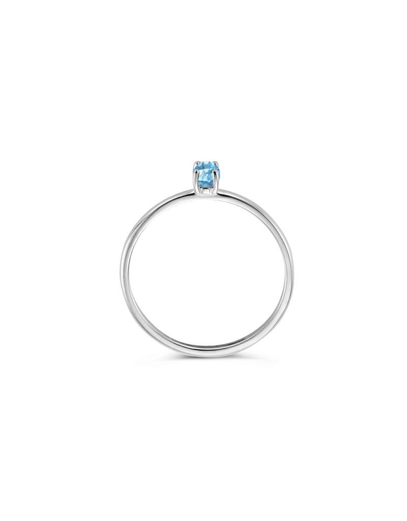 Blush Blush 1204WBT/52 ring dames 14 k witgoud met blauwe topaz