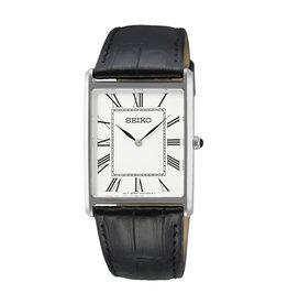 Seiko_Exclusive Seiko SWR049P1 heren horloge rechthoekstalen kast met witte wijzerplaat en romeinse cijfers