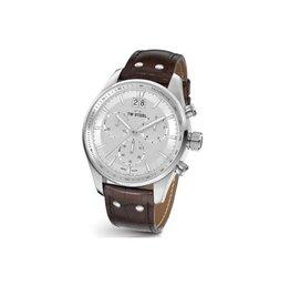 TW Steel TW Steel ACE 302 horloge heren staal chronograaf alpine witte wijzerplaat met bruin croco leren band