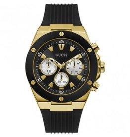 Guess Guess GW0057G1 horloge heren chrono double zwarte bezel en rubber band