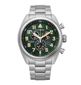 Citizen Citizen AT2480-81X horloge heren chrono titanium met vintage groene wijzerplaat