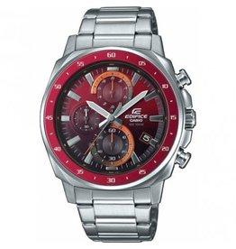 Edifice Edifice EFV-600D-4AVUEF  horloge heren staal rode bezel en matching wijzerplaat