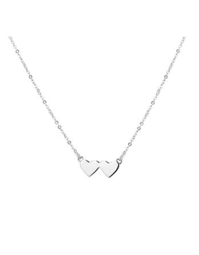 Blinckers Jewelry Huiscollectie BJ 1327126 collier zilver dames met dubbel hart 40 cm verstelbaar tot 44 cm