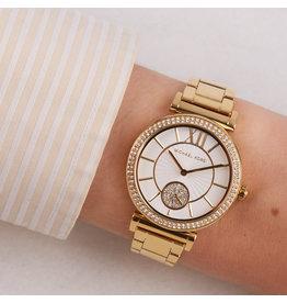 Michael Kors Michael Kors MK4615 horloge dames staal goldplated met idem band en chique witte wijzerplaat met gouden accenten