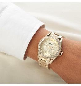 Fossil Fossil ES3204 horloge dames chrono bi color met zirconia