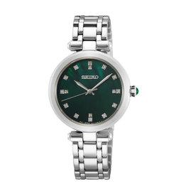 Seiko Seiko SRZ535P1 horloge dames staal met groenewijzerplaat met diamant