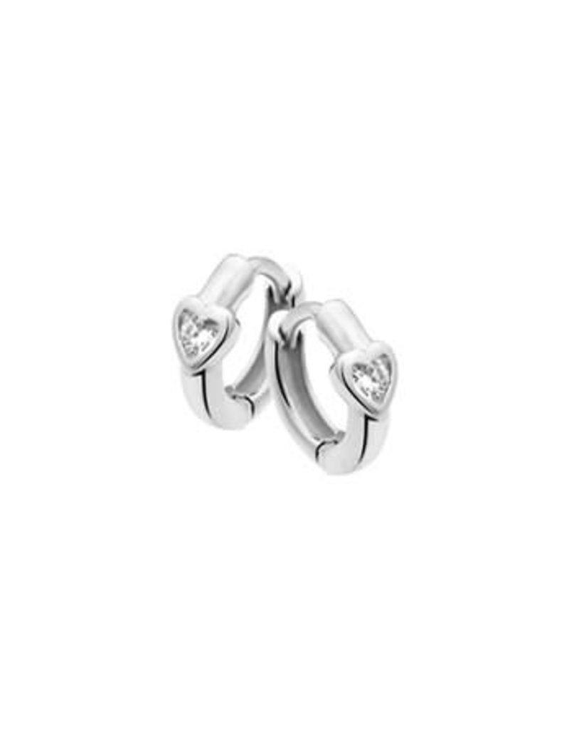 Blinckers Jewelry Huiscollectie BJ 1011951 oorbellen creool met hart in creool verwerkt inclusief zirkonia 1.2 cm doorsnede