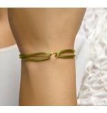 Blinckers Jewelry Huiscollectie BJ 4700228 Armband dames zijde met 14 k gouden hartje  verstelbaar van 13-26 cm
