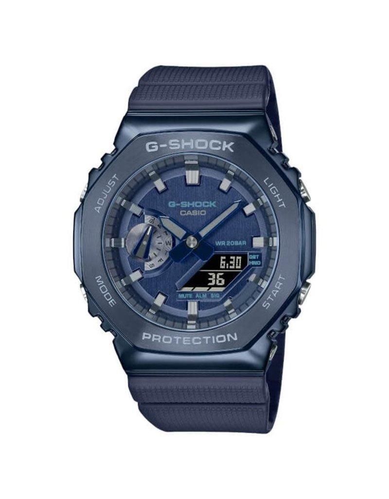 Casio G-Shock GM-2100N-2AER heren horloge anadigi Blauw staal plated kast met rubber band