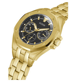 Guess Guess GW0278G2 horloge heren  chronograaf staal goldplated met zwarte wijzerplaat