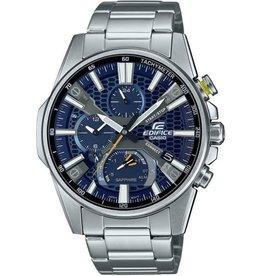 Edifice Edifice EQB-1200D-2AER horloge heren staal met blauwe wijzerplaat saffier glas en bluetooth