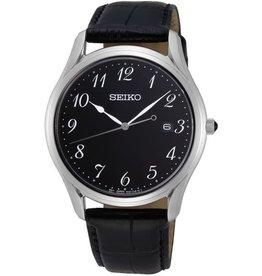 Seiko Seiko SUR305P1 horloge heren stalen kast saffier glas  zwarte wijzerplaat en zwart leren croco band
