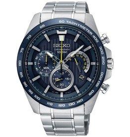 Seiko Seiko SSB301P1 horloge staal chrono met blauwe wijzerplaat en tachymeter