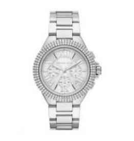 Michael Kors Michael Korse MK6993 horloge staal met stalen band witte wijzerplaat met romeinse cijfers en gezette zirconia's op de bezel