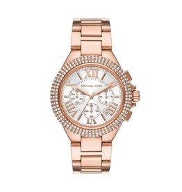 Michael Kors MIchael Korse MK6995 horloge staal rosé plated met idem band, witte wijzerplaat met romeinse cijfers en gezette zirconia's op de bezel
