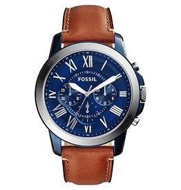 Fossil Fossil FS5151 horloge heren staal blue pvd plated met blauwe wijzerplaat en bruine vintage band