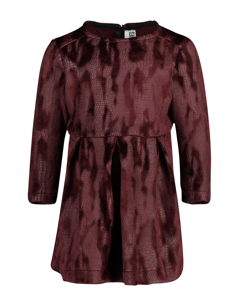 TOO MANY BUNNIES Jurk Blondie Velvet Bordeaux met textuur