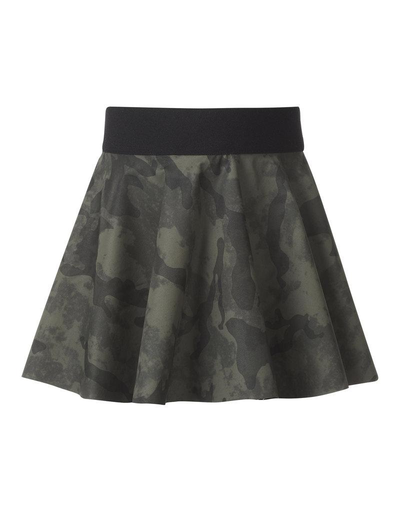 BLACK BUNNIES Faux Leather Camouflage Rokje Legergroen
