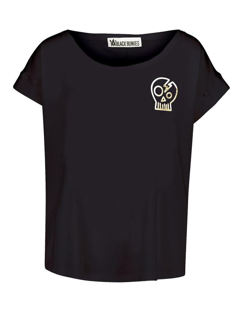 BLACK BUNNIES Shirt Jolene Zwart Skull Gold