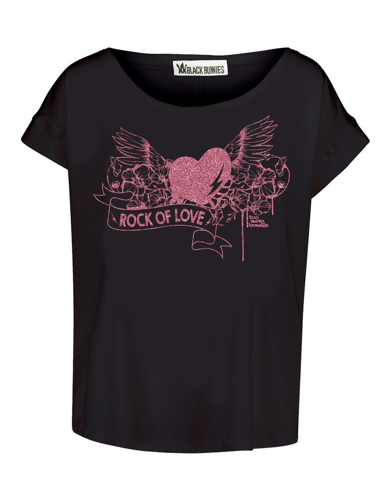 BLACK BUNNIES Shirt Jolene Zwart Rock Of Love Pink Glitter