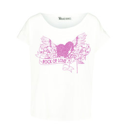 BLACK BUNNIES Shirt Jolene Wit Rock Of Love Pink Glitter