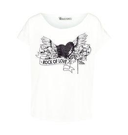 BLACK BUNNIES Shirt Jolene Wit Rock Of Love Zwart Glitter