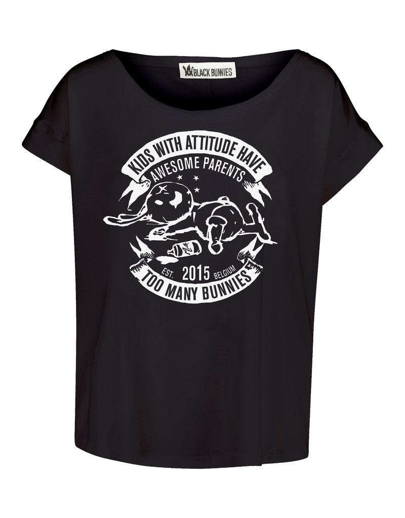 BLACK BUNNIES Shirt Jolene Zwart Bunny Wit