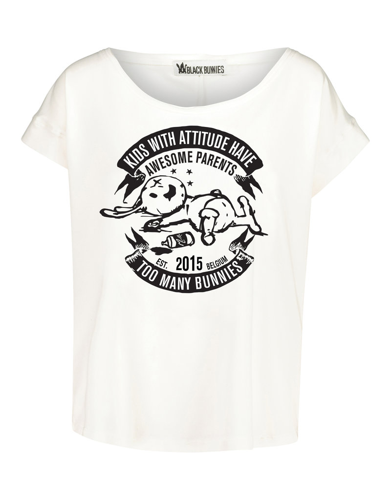 BLACK BUNNIES Shirt Jolene Wit Bunny Zwart