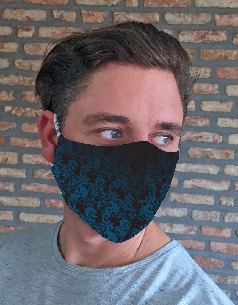 TOO MANY BUNNIES Mondmasker Dark Blue Skulls