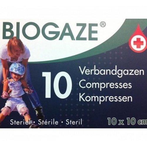 Biogaze Biogaze Verbandgaas 10x10cm 10 Stuks