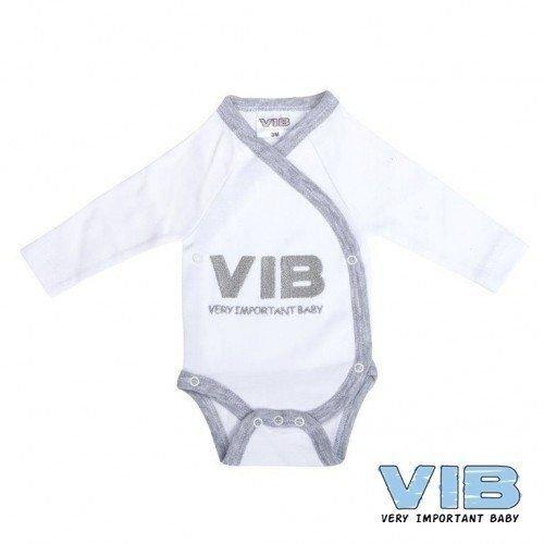 Vib Vib Baby Overslag Romper V.I.B. Wit/Grijs - 1 Stuks