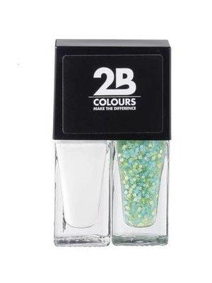 2b 2B NAGELLAK DUO 537 WHITE & GREEN BLUE DOTS - 1 STUKS