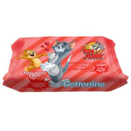 Tom & Jerry Tom & Jerry Babydoekjes Strawberry- 72 Stuks
