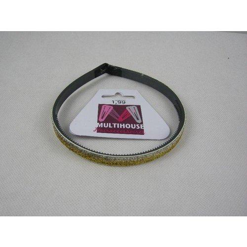 Multihouse Diadeem 1 Cm Zilver/Goud Glitter - 1 Stuks