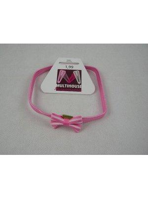 Multihouse Elastische Haarband Met Strik Donker Roze - 1 Stuks