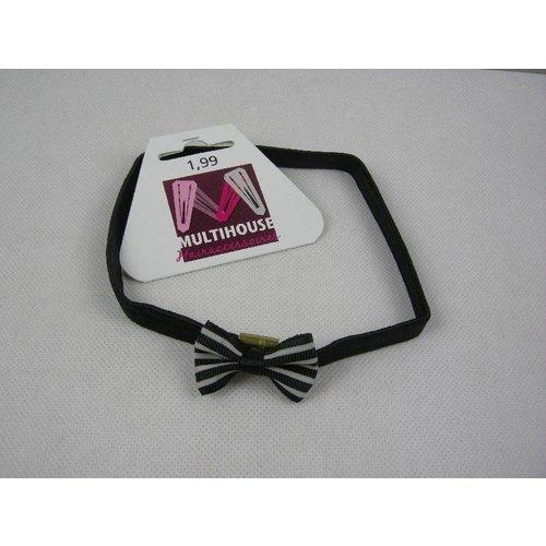 Multihouse Elastische Haarband Met Strik Zwart/Wit - 1 Stuks