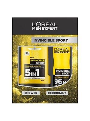 Loreal Men Expert Cadeauverpakking Invincible Sport Douchegel + Deospray - 1 Stuks