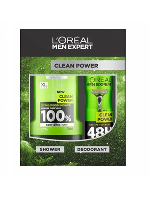 Loreal Men Expert Cadeauverpakking Clean Power Douchegel + Deospray - 1 Stuks