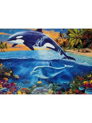 Diamond Painting 2 Dolfijnen J0336 30 cm x 40 cm